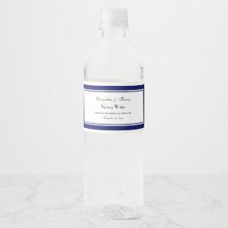 Elegant Navy Blue Framed #2 Water Bottle Label