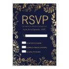 Elegant Navy Blue Gold Floral RSVP Cards