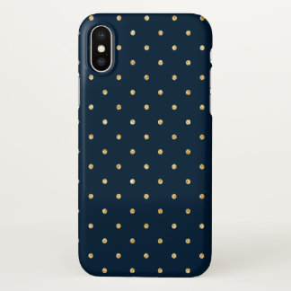 Elegant Navy Blue Gold Glitter Polka Dots Pattern iPhone X Case