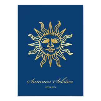 Elegant Navy Blue & Gold Metallic Summer Solstice 11 Cm X 16 Cm Invitation Card