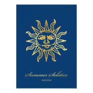 Elegant Navy Blue & Gold Metallic Summer Solstice 11 Cm X 16 Cm Invitation Card