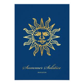 Elegant Navy Blue & Gold Metallic Summer Solstice Personalized Invitation