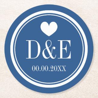 Elegant navy blue heart monogram wedding coasters