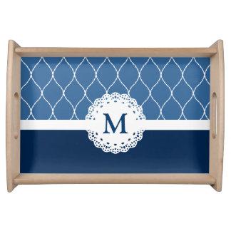 Elegant Navy Blue Lace Pattern - Custom Monogram Serving Tray