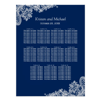 Elegant Navy Blue Lace Wedding Seating Chart Poster