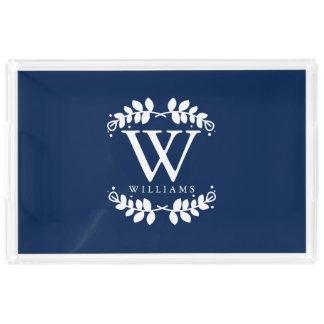Elegant Navy Blue Modern Monogram Acrylic Tray