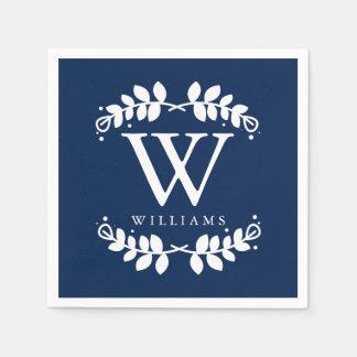 Elegant Navy Blue Monogram Paper Napkin