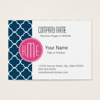 Elegant Navy Blue Quatrefoil with Pink Monogram Business Card