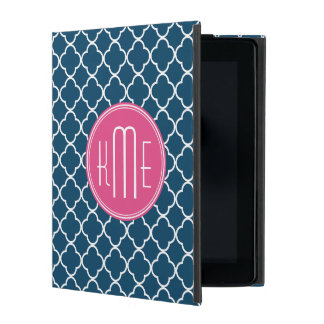 Elegant Navy Blue Quatrefoil with Pink Monogram Case For iPad