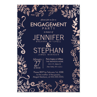 Elegant Navy Blue Rose Gold Floral Engagement Card