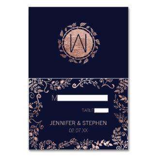 Elegant Navy Blue Rose Gold Floral Name Place Card