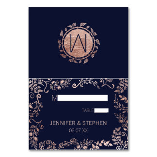 Elegant Navy Blue Rose Gold Floral Name Place Card Table Cards