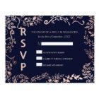 Elegant Navy Blue Rose Gold Floral RSVP Postcards