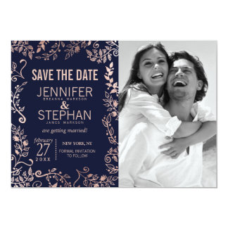 Elegant Navy Blue Rose Gold Floral Save the Dates Card