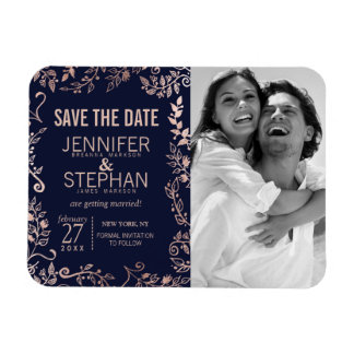 Elegant Navy Blue Rose Gold Floral Save the Dates Rectangular Photo Magnet