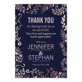 Elegant Navy Blue Rose Gold Floral Thank You Cards