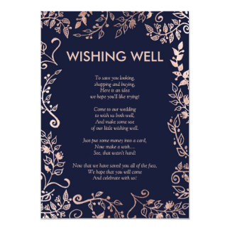 Elegant Navy Blue Rose Gold Floral Wishing Well 13 Cm X 18 Cm Invitation Card