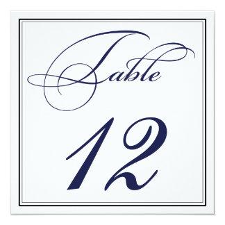 Elegant Navy Blue Script Table Number Cards