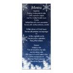 Elegant Navy Blue Snowflake Winter Wedding Menu Custom Invite