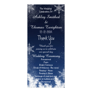 Elegant Navy Blue Snowflake Winter Wedding Program Rack Card