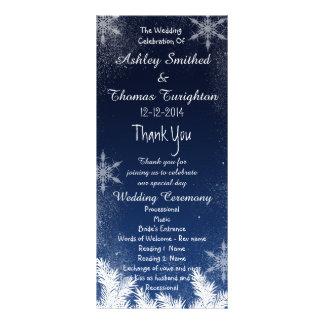 Elegant Navy Blue Snowflake Winter Wedding Program Rack Card