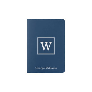 Elegant Navy Blue Square Monogram Passport Holder