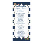 Elegant Navy Blue Stripes Wedding Ceremony Program Custom Rack Card