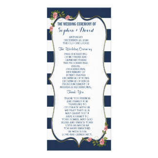 Elegant Navy Blue Stripes Wedding Ceremony Program Rack Card