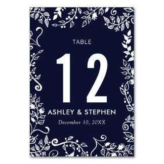 Elegant Navy Blue White Floral Table Numbers Table Card