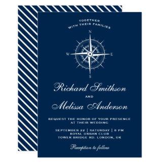 Elegant Navy Blue White Nautical Compass Wedding Card