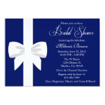 Elegant Navy Blue White Ribbon Bridal Shower 13 Cm X 18 Cm Invitation Card