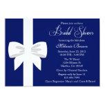 Elegant Navy Blue White Ribbon Bridal Shower 13 Cm X 18 Cm Invitation Card