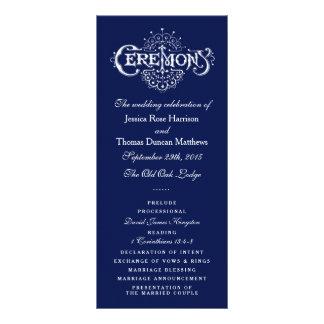 Elegant Navy Blue & White Wedding Ceremony Program Personalized Rack Card