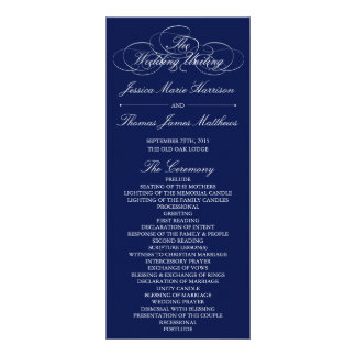 Elegant Navy Blue & White Wedding Program Template Rack Card