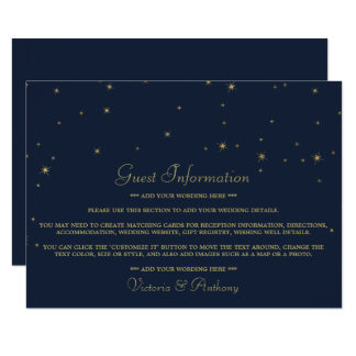 Elegant Navy & Gold Falling Stars Wedding Detail Card