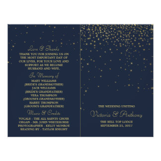 Elegant Navy & Gold Falling Stars Wedding Program Flyer
