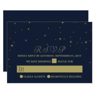 Elegant Navy & Gold Falling Stars Wedding RSVP Card