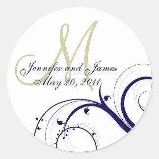 Elegant Navy Green Swirl Monogram Wedding Seal #2 Round Sticker