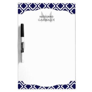 Elegant Navy Moroccan Quatrefoil Personalized Dry Erase Board
