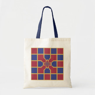 Elegant Navy Red Squares Sophisticated Gold Border Tote Bags