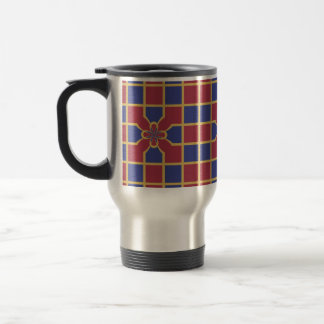 Elegant Navy Red Squares Sophisticated Gold Border Stainless Steel Travel Mug