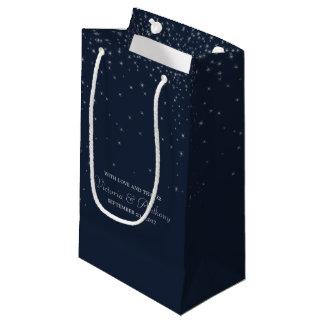 Elegant Navy & Silver Falling Stars Wedding Favour Small Gift Bag