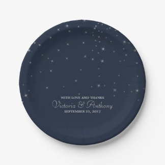 Elegant Navy & Silver Falling Stars Wedding Paper Plate