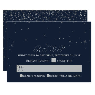 Elegant Navy & Silver Falling Stars Wedding RSVP Card