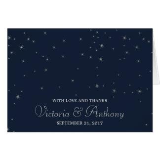 Elegant Navy & Silver Falling Stars Wedding Thanks Card
