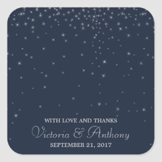 Elegant Navy & Silver Falling Stars Wedding Thanks Square Sticker