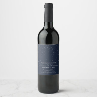Elegant Navy & Silver Falling Stars Wedding Wine Label