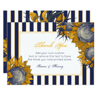 Elegant Navy Sunflower Thank You Cards 9 Cm X 13 Cm Invitation Card