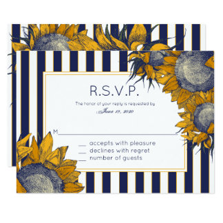 Elegant Navy Sunflower | Wedding, Response Cards 9 Cm X 13 Cm Invitation Card