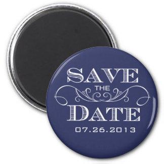 Elegant Navy Swirl Save the Date Magnet